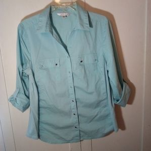 Light blue button up with silver buttons